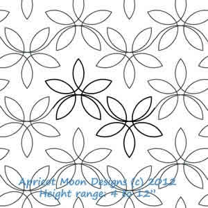 Digital Quilting Design Dainty Lady Floral by Apricot Moon.