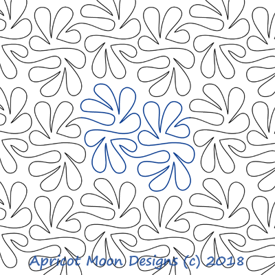 AM Flounce by Apricot Moon. This image demonstrates how this computerized pattern will stitch out once loaded on your robotic quilting system. A full page pdf is included with the design download.