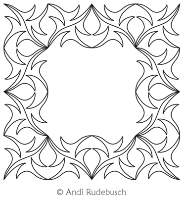 Dancing Filigree Frame by Andi Rudebusch. This image demonstrates how this computerized pattern will stitch out once loaded on your robotic quilting system. A full page pdf is included with the design download.