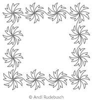 Spinning Flowers Frame by Andi Rudebusch. This image demonstrates how this computerized pattern will stitch out once loaded on your robotic quilting system. A full page pdf is included with the design download.
