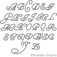 Digital Quilting Design Old Script Alphabet Uppercase by Brandon Smythe.
