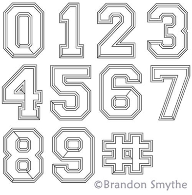 Digital Quilting Design Varsity Numbers Set by Brandon Smythe.