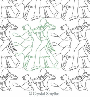 Digital Quilting Design Ballroom Dancers by Crystal Smythe.