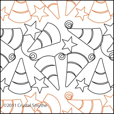 Digital Quilting Design Candy Corn by Crystal Smythe.