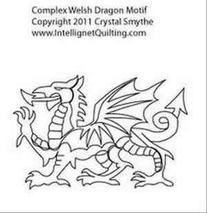 Digital Quilting Design Complex Welsh Dragon Motif by Crystal Smythe.