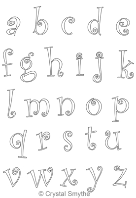 Digital Quilting Design CurlieQ Alphabet Lower Case by Crystal Smythe.