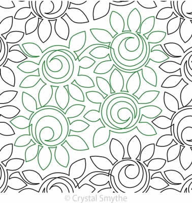 Digital Quilting Design Friendship Flowers by Crystal Smythe.