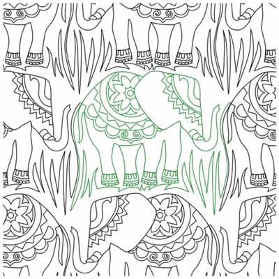 Digital Quilting Design Hindi Elephant Panto by Crystal Smythe.