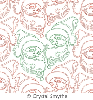 Digital Quilting Design Jolly Santa by Crystal Smythe.