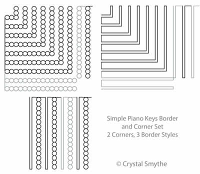 Digital Quilting Design Simple Piano Keys Set by Crystal Smythe.