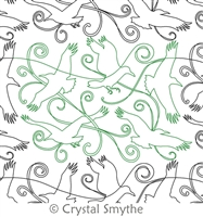 Digital Quilting Design Ravens and Scrolls by Crystal Smythe.