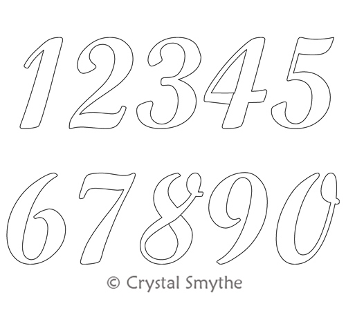 Script Numbers Crystal Smythe Digitized Quilting Designs