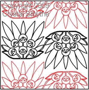 Digital Quilting Design Egyptian Lotus by Crystal Smythe.