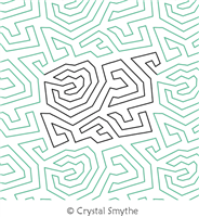 Jagged Maze by Crystal Smythe. This image demonstrates how this computerized pattern will stitch out once loaded on your robotic quilting system. A full page pdf is included with the design download.