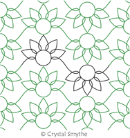 Sunflower Lace by Crystal Smythe. This image demonstrates how this computerized pattern will stitch out once loaded on your robotic quilting system. A full page pdf is included with the design download.
