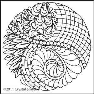 Digital Quilting Design Zendoodle Circle by Crystal Smythe.