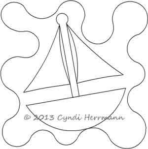 Digital Quilting Design Ahoy Tug Sail Boat 1 Block by Cyndi Herrmann.