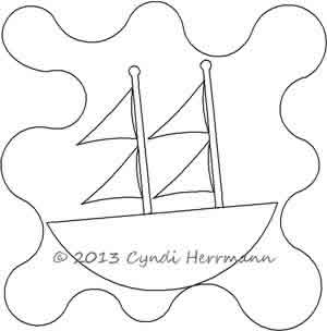 Digital Quilting Design Ahoy Tug Sail Boat 2 Block by Cyndi Herrmann.