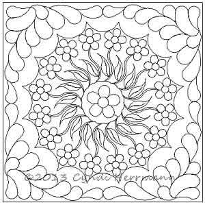 Digital Quilting Design Cyndi's Dresden Plate - Flower and Feathers Set by Cyndi Herrmann.