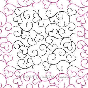 Digital Quilting Design Hearts in a Swirl by Cyndi Herrmann.