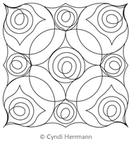 Swirl Flowers Block 2 by Cyndi Herrmann. This image demonstrates how this computerized pattern will stitch out once loaded on your robotic quilting system. A full page pdf is included with the design download.