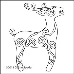 Digital Quilting Design Christmas Reindeer Motif by Celine Spader.