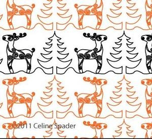 Digital Quilting Design Christmas Reindeer Border Panto 2 by Celine Spader.