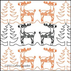 Digital Quilting Design Christmas Reindeer Border Panto 3 by Celine Spader.