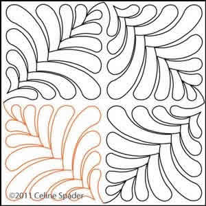 Digital Quilting Design Fast and Fun Feather II by Celine Spader.