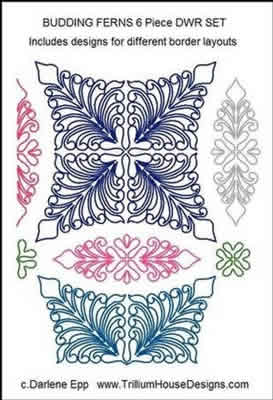 Digital Quilting Design Budding Ferns DWR Set by Darlene Epp.