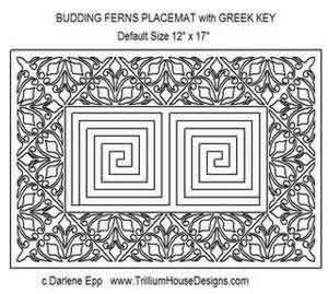 Digital Quilting Design Budding Ferns Placemat w/ Greek Key Center by Darlene Epp.