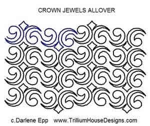 Digital Quilting Design Crown Jewel Allover by Darlene Epp.