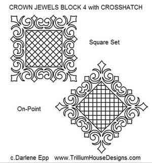 Digital Quilting Design Crown Jewel Block 4 w/ Crosshatch by Darlene Epp.