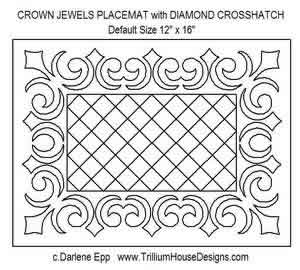 Digital Quilting Design Crown Jewels Placemat by Darlene Epp.