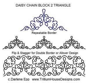 Digital Quilting Design Daisy Chain Block 2 Tri by Darlene Epp.