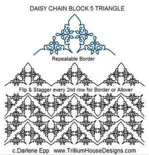 Digital Quilting Design Daisy Chain Block 5  Tri by Darlene Epp.