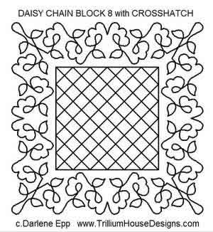 Digital Quilting Design Daisy Chain Block 8 w/Crosshatch by Darlene Epp.