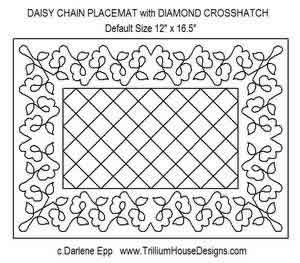 Digital Quilting Design Daisy Chain Placemat w/Diamond Crosshatch by Darlene Epp.