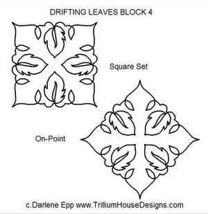 Digital Quilting Design Drifting Leaves Block 4 by Darlene Epp.