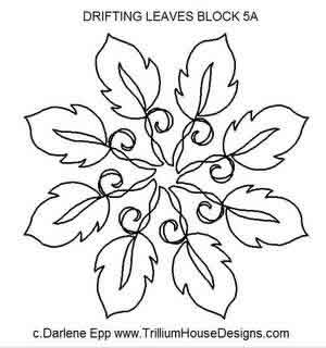 Digital Quilting Design Drifting Leaves Block 5A by Darlene Epp.