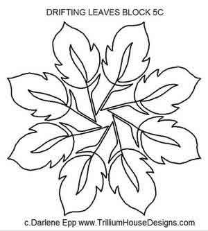 Digital Quilting Design Drifting Leaves Block 5C by Darlene Epp.