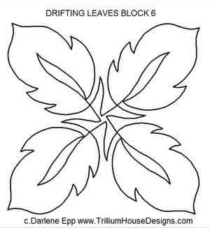 Digital Quilting Design Drifting Leaves Block 6 by Darlene Epp.