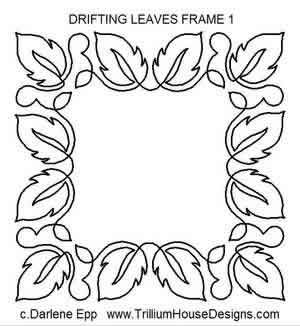Digital Quilting Design Drifting Leaves Frame 1 by Darlene Epp.