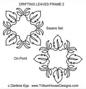 Digital Quilting Design Drifting Leaves Frame 2 by Darlene Epp.