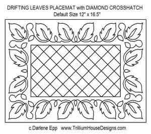 Digital Quilting Design Drifting Leaves Placemat w/Diamond Crosshatch by Darlene Epp.
