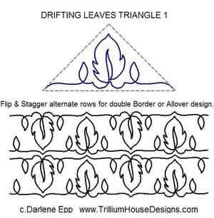 Digital Quilting Design Drifting Leaves Triangle 1 by Darlene Epp.