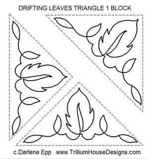 Digital Quilting Design Drifting Leaves Triangle 1 Block by Darlene Epp.