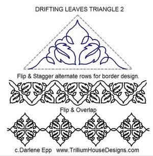 Digital Quilting Design Drifting Leaves Triangle 2 by Darlene Epp.