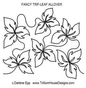 Digital Quilting Design Fancy Tri Leaf Allover by Darlene Epp.
