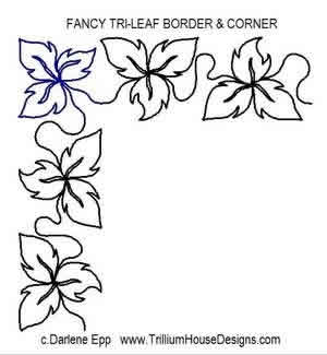 Fancy Tri Leaf Border And Corner Digital Quilting Designs